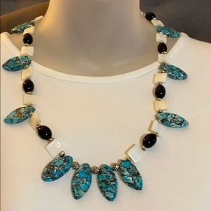 mosaic turquoise,onyx & mother of pearl necklace